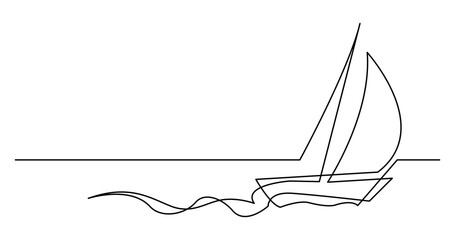 continuous line drawing of beautiful yacht sailing fast on sea
