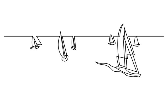 continuous line drawing of big regatta with yachts sailing on ocean