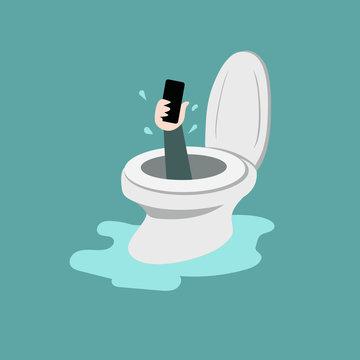 smartphone in toilet bowl