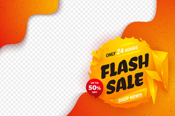 Flash sale background with orange, yellow, and red color. Sale banner template design.