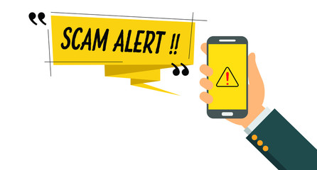 Vector illustration of scam alert notification on smart phone
