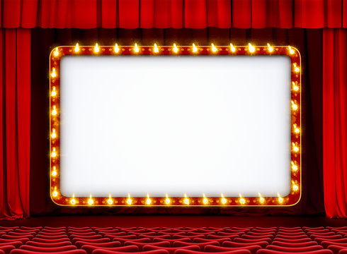 Theater or movie sign on red stage with curtain