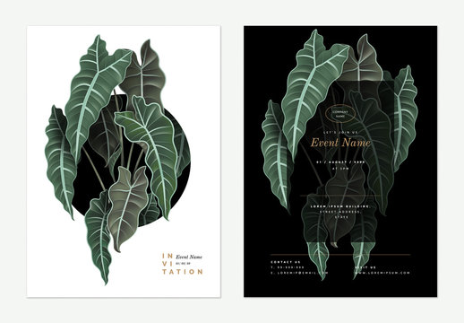 Event invitation card template design, Alocasia Polly plant decorated on black