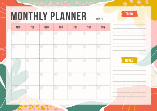 Floral monthly planning template with pieces of torn paper, flower and chalk line. Blank monthly planner with notes in pastel colors. Simple stylish organizer design. Vector illustration