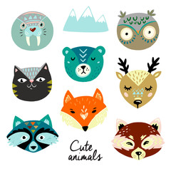 Cute animals faces. Hand drawn baby design