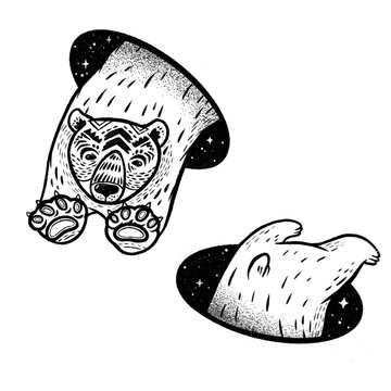 Polar bear in magic teleport. Linear black and white drawing. Ideal for coloring print