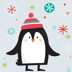 Cute penguin with flaying snowflakes on background
