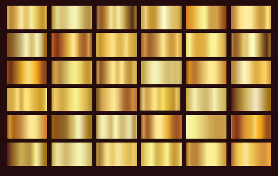 Gold foil texture background set. Vector golden, copper, brass and metal gradient template.