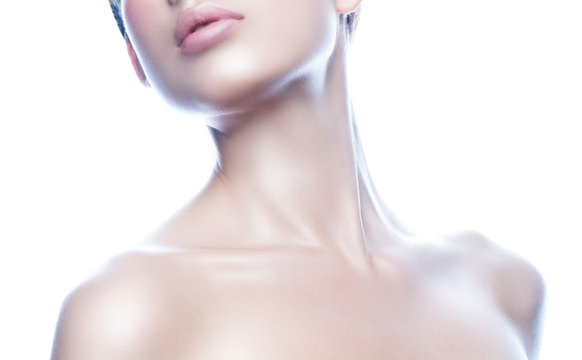 Lips, part of beauty face, shoulders of young model woman, perfect skin, neck, naked shoulders. Skincare facial treatment concept