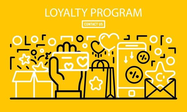 Loyalty program banner. Outline illustration of loyalty program vector banner for web design