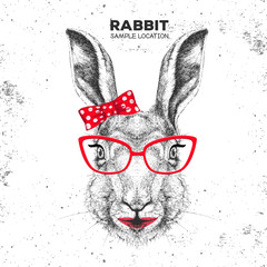 Retro Hipster animal rabbit. Hand drawing Muzzle of animal bunny. Girl of 60s