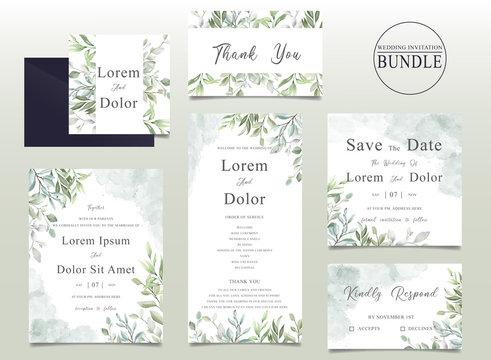 Elegant Wedding invitation card bundle with watercolor leaves