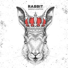 Hipster animal rabbit in crown. Hand drawing Muzzle of bunny