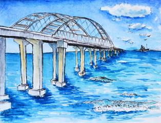 Crimean bridge sea landscape watercolor drawing illustration