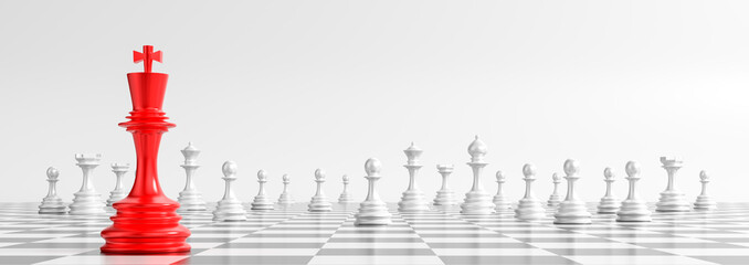 Business concept design with chess pieces on white background. 3D illustration