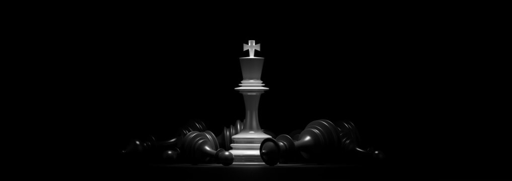 Business concept design with chess pieces. 3D illustration