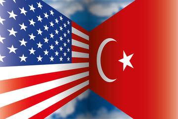 USA vs Turkey flags, vector illustration