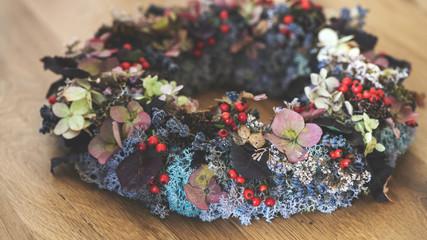Herbst-Winter Kranz-florale Dekoration für Tisch und Haustür