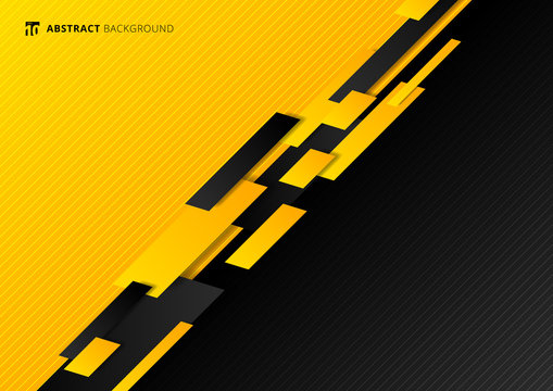 Abstract technology template geometric diagonal overlapping separate contrast yellow and black background.