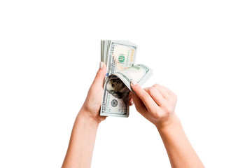 Isolated image of female hands counting dollars on white background. Top view of salary and wages concept