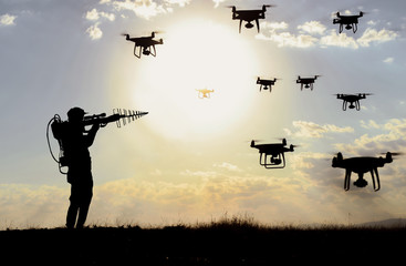 drone defense systems and military solution for attack, war and privacy