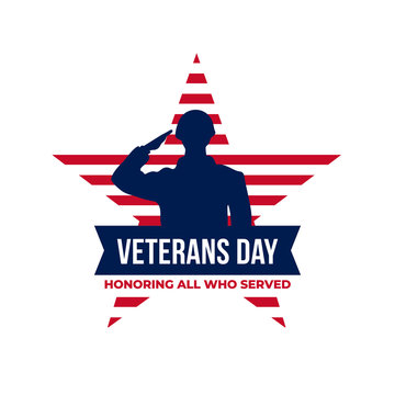 Happy veterans day honoring all who served retro vintage logo badge celebration poster background vector design. Soldier military salutation silhouette illustration with usa star flag graphic ornament