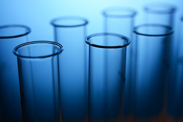 Test tubes in a laboratory for scientific tests and medical examinations