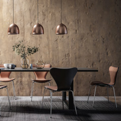 Dining Room Set in Contemporary Copper Design (focused) - 3d visualization