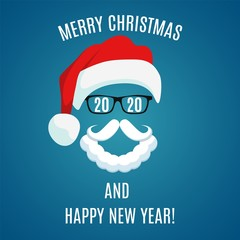 Merry Christmas greeting card template. Santa Claus . Hipster style. For print on t shirt, tee, card, invitation, template. Vector illustration in flat style