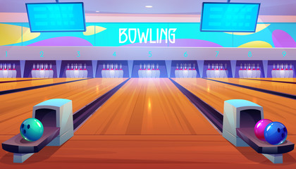 Bowling alleys with balls, pins and scoreboard screens. Empty club interior with skittles on lane, place for entertainment, leisure and sport tournaments. Recreation hobby. Cartoon vector illustration
