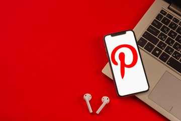 Tula, Russia - May 24,2019: Apple iPhone X with Pinterest application on the screen. Pinterest is an online pinboard that allows people to pin their interesting things.