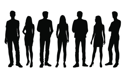 Vector silhouettes of  men and a women, a group of standing business people, black color isolated on white background Wall mural