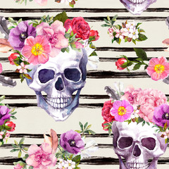 Human skulls with flowers, featrhers. Floral seamless pattern with black stripes. Watercolor for Dia de Muertos holiday
