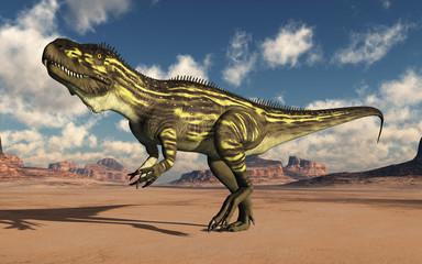 Dinosaurier Torvosaurus in der Wüste