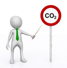 3D Figur vor Verkehrsschild mit CO2 Symbol