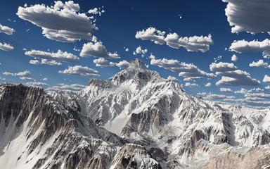 Bergpanorama mit schneebedeckten Bergen