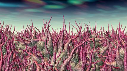 Außerirdischer Planet mit Pflanzen