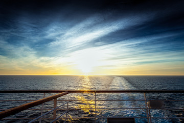 Wake left on the sea by a cruise ship at sunset, Adriatic sea, Italy