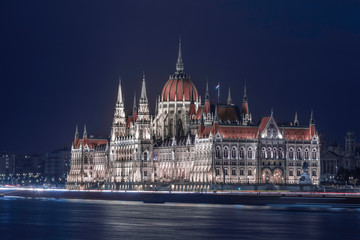 Budapest, Hungary - The amazing illuminated Hungarian Parliament building by the River Danube at blue hour