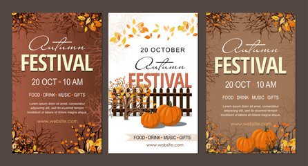 Set Autumn festival flyers, template with pumpkins  branches and berries.