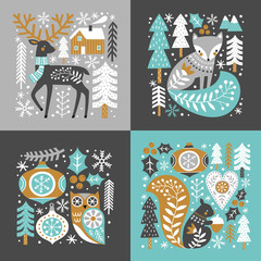 Scandinavian Christmas illustration with cute woodland animals, woods and snowflakes on dark grey background. Perfect for tee shirt logo, greeting card, poster, invitation or print design.
