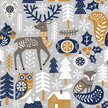 Seamless vector pattern with cute woodland animals, woods and snowflakes on light grey background. Scandinavian Christmas illustration.