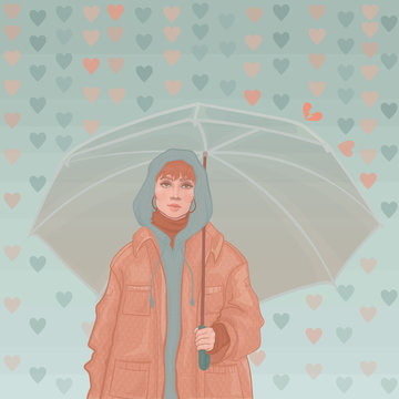 trendy young girl holding an umbrella in her hands, which protects her from the rain looks like hearts (emotions, feelings, sympathies)