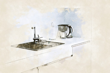 Sketch of modern light kitchen with dark sink in beige colors