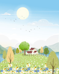 Foto op Plexiglas Lichtblauw Cute cartoon panorama landscape of Spring field and wild flowers with family bee flying, Lovely card with sun shine, cloud and honey bee collecting pollen on flowers in sunny day, Summer background
