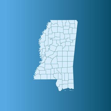 vector illustration map of Mississippi