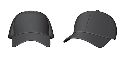 Black baseball cap set. Vector realistic illustration
