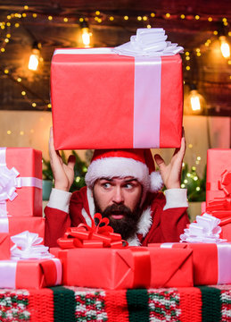 huge pleasure. bearded man. happy new year. Xmas present box. winter shopping sales. Cheerful elf. christmas gift delivery. Cyber Monday. hipster santa hat. Christmas shopping