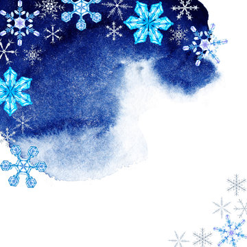 Asymmetric quadratic colorful frame of snowflakes on the dark blue sky. Theme of winter snowfall in the night. Watercolor hand painted illustration isolated on white background.  Christmas eve time.