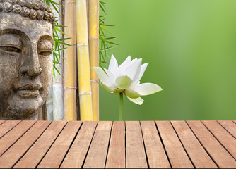 background with bamboo, lotus and Buddha